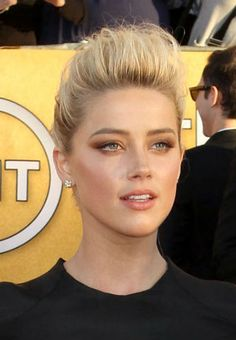 Red carpet hairstyle. Messy bun -  Amber Heard. Celebrity Hairstyle.