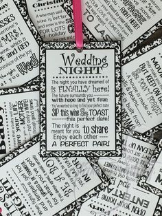 Bridal Shower Wine Poem Tags Gift set of 6  by StarrPrinting