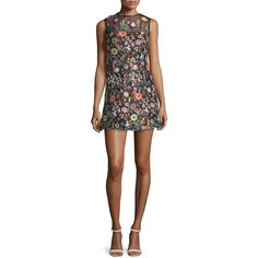 RED Valentino Sleeveless Jewel-Neck Floral Mini Dress ($840) ❤ liked on Polyvore featuring dresses, black, floral print sheath dress, floral day dress, flower print dress, sheath dress and straight dress