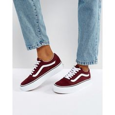 Vans Old Skool Platform Trainers In Burgundy (€82) ❤ liked on Polyvore featuring shoes, sneakers, red, red hi top sneakers, canvas sneakers, platform canvas sneakers, vans sneakers and high top slip on sneakers
