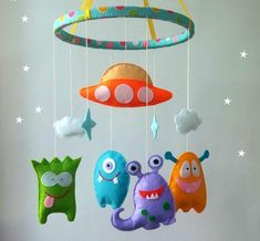Baby mobile UFO cute monsters aliens nursery crib mobile felt hanging custom mobile baby boy mobile baby girl You can order any other colors Baby Mädchen Mobile, Monster Nursery, Crochet Baby Mobiles, Cute Alien, Hanging Mobile, Felt Baby, Felt Decorations, New Baby Gifts, Monsters
