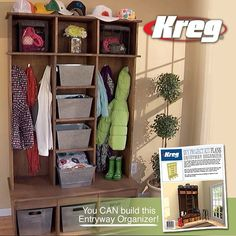 Cut it assemble it customize it with the kreg diy project kit clutter free entryway but werent sure you could do it yourself you can build one just like this with the affordable new diy project kit from kreg solutioingenieria Image collections