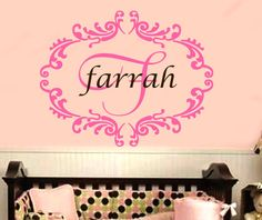 Baby Girl Name Wall Decal Damask  $31.00   Initial: B  2. Initial color: Black  3. Name:Brooklyn  4. Name color:white  5. Damask color: Black
