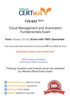 Candidate need to purchase the latest VMware 1V0-603 Dumps with latest VMware 1V0-603 Exam Questions. Here is a suggestion for you: Here you can find the latest VMware 1V0-603 New Questions in their VMware 1V0-603 PDF, VMware 1V0-603 VCE and VMware 1V0-603 braindumps. Their VMware 1V0-603 exam dumps are with the latest VMware 1V0-603 exam question. With VMware 1V0-603 pdf dumps, you will be successful. Highly recommend this VMware 1V0-603 Practice Test.