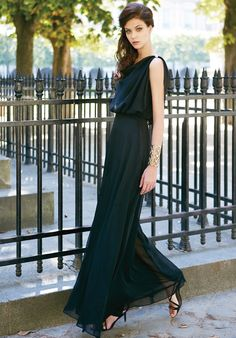 Long black dress.