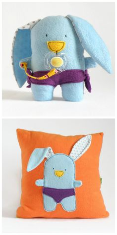 Unisex Toddlers Gift Set - Blue Stuffed Bunny Plush Toy & Orange Throw Pillow, Baby Shower Gift Set, Soft Bunny Plushies, Fun Kids Pillow