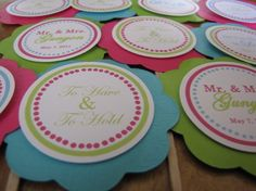 ***Bachelorette or bridal shower Cupcake Party Picks - You Choose The Colors