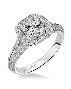 Tatiana, Contemporary Diamond halo engagement ring