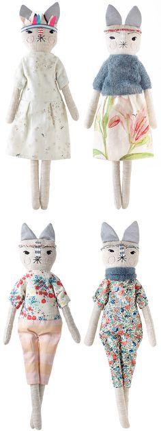 Handmade toy, dolls, bunnies, lou lou  oscar