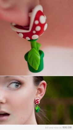 Mario carnivorus flower earings...