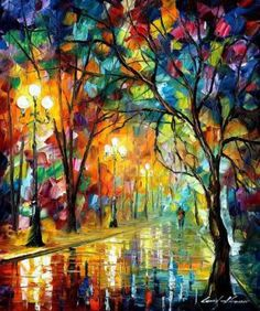 Stroll Under The Rain by Leonid Afremov by Leonidafremov