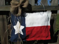 Burlap Texas Flag Door Hanger by nursejeanneg on Etsy, $28.00