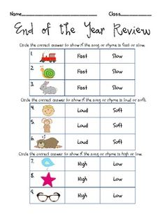 $ on TpT - End of Year Quiz {Fast/Slow, Loud/Soft, High/Low} - Lindsay Jervis - Kindergarten Concepts