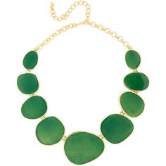 Kenneth Jay Lane 18-karat gold-plated necklace ($155) ❤ liked on Polyvore featuring jewelry, necklaces, green, accessories, kenneth jay lane jewelry, enamel necklace, 18 karat gold jewelry, green jewelry and kenneth jay lane