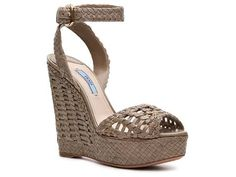 Prada Woven Leather Wedge Sandal Women's Luxury Shoes Women's by Category Luxe810 600