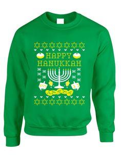 Adult Crewneck Happy Hanukkah Jewish Menorah Ugly Sweater