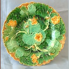 Minton Majolica rare nastertium plate with a date code for 1860  still looking for that plate you talked about