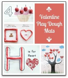 Free printable Valentine play dough mats for some Valentine's Day fine motor and sensory fun || Gift of Curiosity