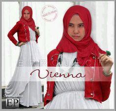 Baju Maxi Viena Red dan Pashmina
