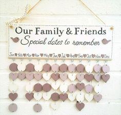 Family Birthday board calendar reminder friends plaque gift wedding Mothers day
