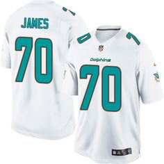 Nike Limited Ja'Wuan James White Youth Jersey - Miami Dolphins #70 NFL Road
