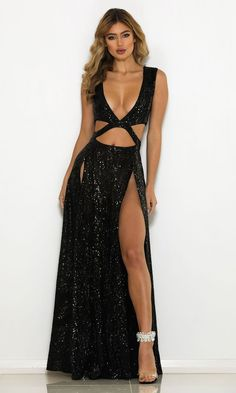 Dreaming Of You Black Sequin Sleeveless Plunge V Neck Cut Out Double Slit Maxi Gown Dress : Dreaming Of You Black Sequin Sleeveless Plunge V Neck Cut Out Double Slit Maxi Dress Elegant Dresses, Sexy Dresses, Fashion Dresses, Prom Dresses, Glamour Dresses, Maxi Dress With Slit, The Dress, Double Slit Dress, High Slit Dress