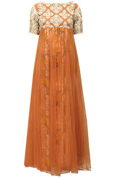 Orange fully gold embroiderd anarkali set with floral printed underlayer by Bhumika Sharma. Shop now: www.perniaspopups.... #anarkali #designer #bhumikasharma #elegant #clothing #shopnow #perniaspopupshop #happyshopping
