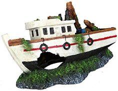 Fishing Boat Wreck Fish Cave Aquarium Ornament Fish Tank Decoration