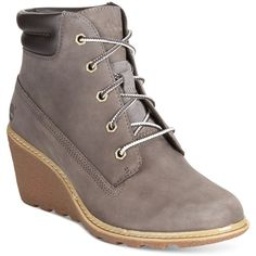 Timberland Women's Earthkeepers Amston Wedge Booties ($130) ❤ liked on Polyvore featuring shoes, boots, ankle booties, grey, grey boots, gray booties, wedge heel boots, grey booties and work boots