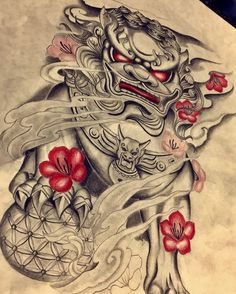 tattoos on back of neck meaning Forarm Tattoos, Irezumi Tattoos, Leg Tattoos, Body Art Tattoos, Tattoos For Guys, Foo Dog Tattoo Design, Japan Tattoo Design, Japanese Flower Tattoo, Japanese Sleeve Tattoos