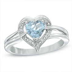 Zales 6.0mm Heart-Shaped Blue Topaz and Diamond Accent Ring in Sterling Silver J5vzJuUSx