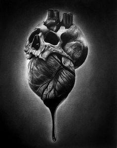 skull heart, coração caveira, tattoo art http://freaknation.com.br