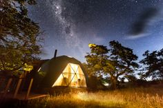 """EcoCamp Patagonia, Torres del Paine, Chile. Suite Dome at night, with a """"window"""" to the stars"""