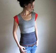 Slate Heather and Poppy Color Block Tee / by THIMBLEandACORN. I ordered one of these and it's fabulous! So soft and beautiful.