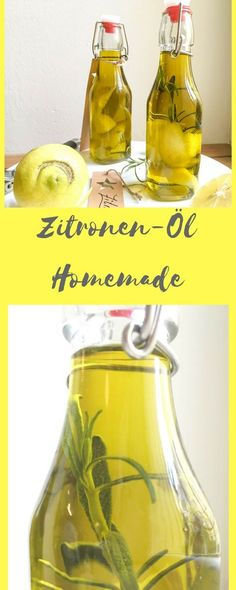 Lemon oil - Zitronen-Öl A delicious lemon oil made in 5 minutes! Lemon Oil, Nutrition, Party Buffet, Diy Presents, Kitchen Gifts, Detox Drinks, Diy Food, Raw Food Recipes, Superfood