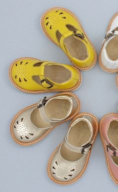 yellow and gold Mary Janes for little girls