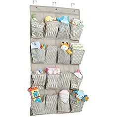 mDesign Chevron Fabric Baby Nursery Closet Organizer for Diapers, Pacifiers, Toys, Wipes - Over Door, 16 Pockets, Taupe/Natural