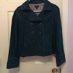 Waist Length Pea Coat Pea coat with three sets of buttons and deep front pocket. One button missing on back. Adorable purple and blue striped lining. Warm enough for early fall and light weight enough for early spring American Eagle Outfitters Jackets & Coats Pea Coats