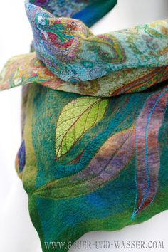 RESERVED for K Nunofelted scarf Felt Cowl wool by FeuerUndWasser, $165.00