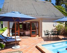 Littlewood Cottage (Sleeps in Tokai, Cape Town. 2 Bed, fully fitted kitchen adjoining the lounge/dining room which opens onto the garden with a plunge pool and barbeque area. Cape Town Accommodation, Plunge Pool, Dining Room, Lounge, Cottage, Patio, Bed, Outdoor Decor, Garden
