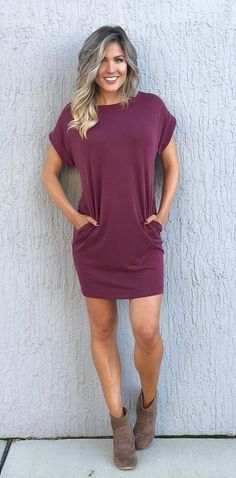 #winter #outfits maroon scoop-neck short-sleeved dress