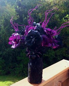 gothic wedding centerpiece plum purple black rose bouquet halloween eggplant purple black wedding - Halloween Centerpieces Wedding