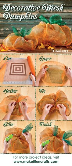 Who says deco mesh is just for wreath making? Get creative and use this versatile product to create fall decor and other crafts, just like these adorable pumpkins! Autumn Crafts, Thanksgiving Crafts, Holiday Crafts, Thanksgiving Decorations, Holiday Ideas, Christmas Ideas, Deco Mesh Wreaths, Fall Wreaths, Burlap Wreaths