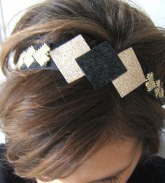 Bijou de tête, Bandeau Cheveux, Serre Tête, Headband Réglable Tissé en Perles et Paillettes Glitter Noir et Doré de la boutique EmmashopCreations sur Etsy