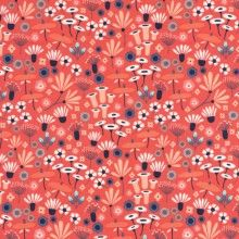 Wildflowers in Crimson (Coral) by Elizabeth Olwen - Yard Wildwood - Cloud 9 Collective OE 100 Certified Organic Cotton Coral floral Laminated Cotton Fabric, Cotton Quilting Fabric, Diy Design, Fabric Design, Cloud 9, Illustration Mode, Retro Illustrations, Unusual Flowers, Colors