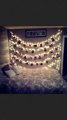 Cute way to hang pics in the tween's room