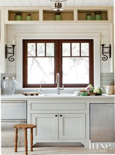 Pocket Window and Sink In Neutral Contemporary Kitchen