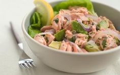 Wild Alaskan Salmon and Avocado Salad // This is a quick and easy way to use leftover cooked salmon... AND it's delicious! #summer #seafood #salad #recipe