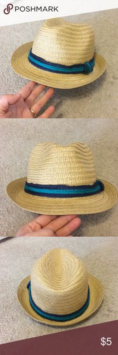 Fedora with navy and teal accent Never before used! Straw fedora with navy and teal lining  Perfect for your spring break vacation! Accessories Hats