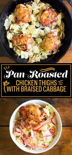 Pan-Roasted Chicken Thighs with Braised Cabbage